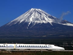 Racing by Mount Fuji aboard a Shinkansen