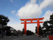 A large torii, a gateway to Japanese shrines.