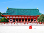 A shrine maiden in front of Heian Jingu Shrine