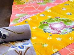 Brightly dyed Kyo Yuzen fabrics