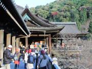 Visitors on the Kiyomizu Temple balcony in Kyoto.