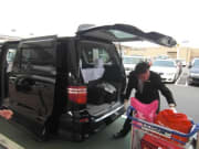 Loading luggage into the airport shuttle