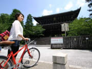 Cycling to a temple in Kyoto