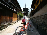 Old Kyoto street with temple in the background