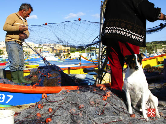 Malta - Marsaxlokk Fisherman Preparing Nets
