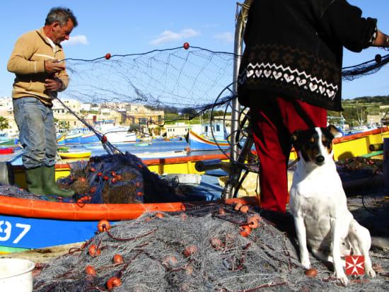 Malta - Marsaxlokk Fisherman Preparing Nets by Vanicsek Pe_ter_edit