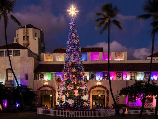 see the beautiful holiday lights at honolulu hale