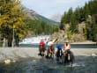Crossing at Bow Falls on the Spray River Ride