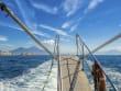 Leaving Naples to Capri and Vesuvius view