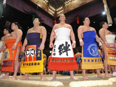Makuuchi sumo wrestlers at the Grand Tournament