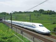 A Shinkansen bullet train zipping through Japan