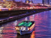 Cruising the Sumida River on a boat