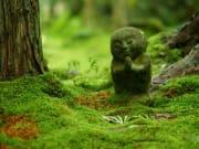 A moss covered Jizo statue in the Sanzenin garden.