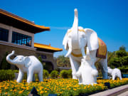 elephant statues in fo guang shan monastery taiwan