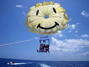 Lifting off to parasail