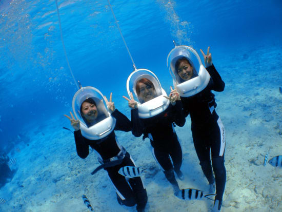 Hanging out underwater on a marine walk