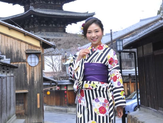 Posing in front of a Kyoto temple