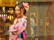Wearing a bright kimono in Kyoto