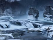 Rhine Falls, Neuhausen am Rheinfall, snow, winter