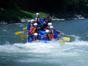 Paddling into a rapid on the Tenryu River
