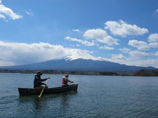 Canoeing in front of Mt. Fuji