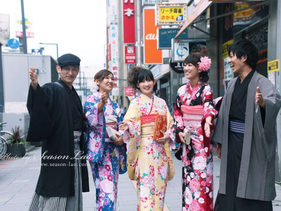 Japanese friends walking in kimono