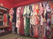 A large selection of bright kimonos