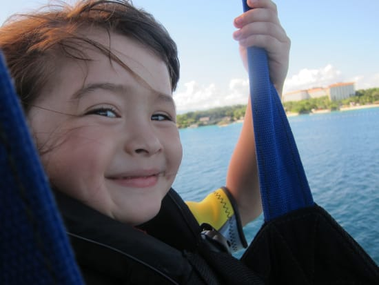 Cebu Mactan little kid on parasailing adventure