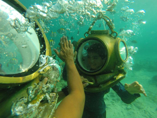 Cebu Mactan Helmet Diving boy high five with staff