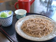 Fresh handmade soba with garnishes