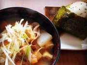 Tonjiru miso soup and fresh onigiri rice ball