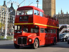 UK_London_Vintage Red Bus with London Eye