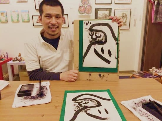 fun sumie ink painting lesson in tokyo with english speaking