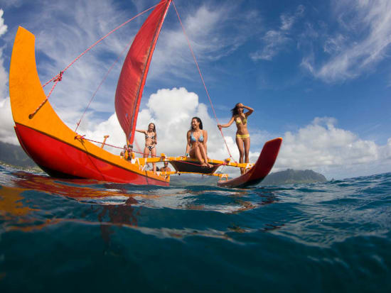 Guided Hawaiian Sailing Canoe and Snorkel Trip at Kaneohe