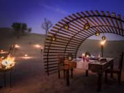 Intimate dinner set-up in the desert