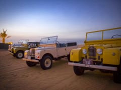 Row of vintage Land Rovers