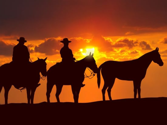 wild west sunset horseback riding guided tour with dinner las vegas