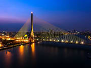 Rama VIII Bridge at night