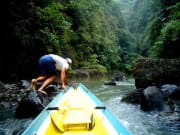 pagsanjan falls boatman steering past rocks