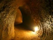 light shining brightly inside cu chi tunnels