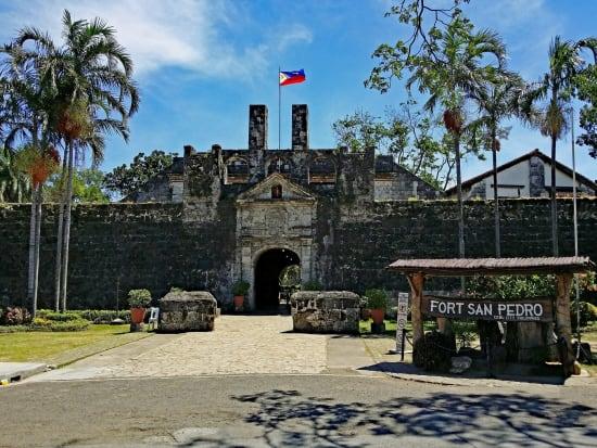 Fort San Pedro with Philippine flag on flagpole