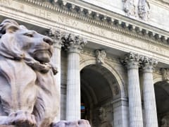 New York City Public Library Entrance in Manhattan