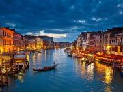 venice, italy, grand canal, night