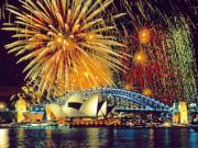 fireworks display sydney harbour bridge australia