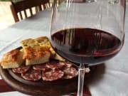 franciacorta, wine, bread, meats