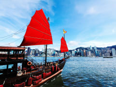 chinese tour boat sunset cruise victoria harbour