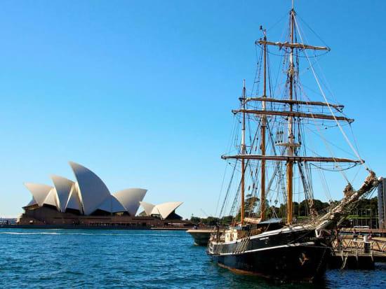 Tall ships docked along Sydney Harbour