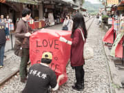 pingxi district couple with heart lantern taiwan