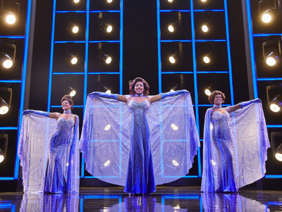 (l-r) Lily Frazer, Liisi LaFontaine and Ibinabo Jack in Dreamgirls at the Savoy Theatre. Credit Brinkhoff & Mögenburg