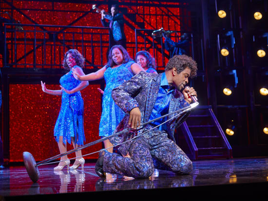 Adam J. Bernard and (l-r) Ibinabo Jack, Amber Riley and Liisi LaFontaine in Dreamgirls at the Savoy Theatre. Credit Brinkhoff